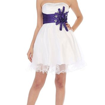 May Queen - Sequined Strapless Semi-sweetheart Short Tulle Cocktail Dress
