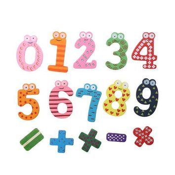 ICIK272 15pcs Wooden Numbers Block Math Toy Magnet Fridge Sticker Baby Educative Math Toys Use on Refrigerator/Message Board