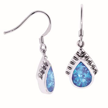Silver with Rhodium Finish Shiny Textured Teardrop Shape Drop Earring with Created OpAl
