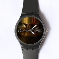 Custom Game of Thrones Watches Classic Black Plastic Watch WT-0822