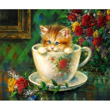 5D Diamond Painting Teacup Kitten Kit