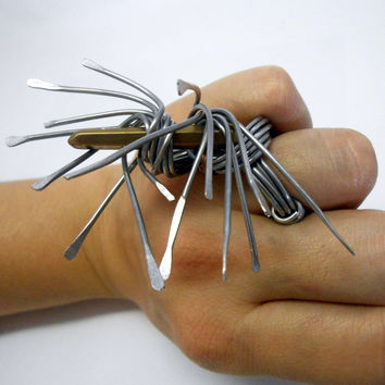 Ring- Spiky goth jewelry - statement modernist art ring - brutalist jewelry - unique artisan jewelry in wire