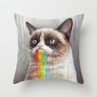 Grumpy Cat Tastes the Rainbow Throw Pillow by Olechka