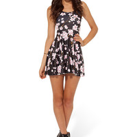 Cherry Blossom Black Reversible Skater Dress