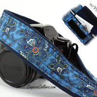 dSLR Camera Strap,Butterfly Paisley, Blue, SLR
