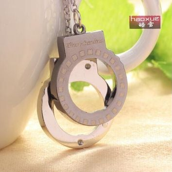 1pc Factory price Stainless steel Handcuffs necklace pendant lovely jewelry high quality