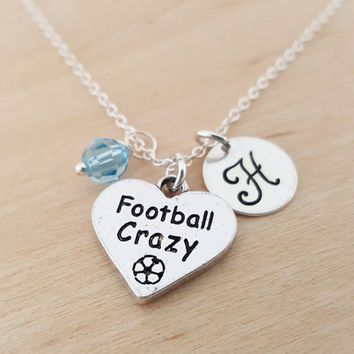 Football Crazy Charm - Football Necklace -  Swarovski Birthstone - Initial Necklace - Personalized Necklace - Sterling Silver Necklace