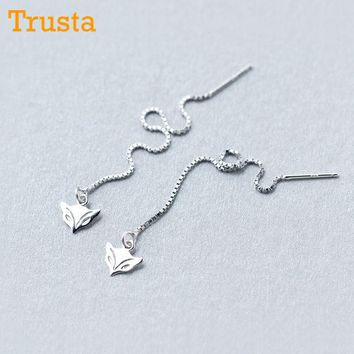 Trusta 2018 Fashion Hot 100% 925 Sterling Silver Stud Earrings Cute Fox Linked 8.1cm Drop Stick Girls Friends Gift DS459