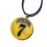 Softball Necklace - Neon Yellow Round Pendant, Resin and Wood, sport jewelry, for fans, moms, sisters, grandmas, team gifts