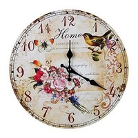 Retro Vintage Shabby Chic Animals & Flowers Wall Clock