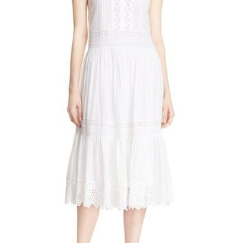 Rebecca Taylor Cotton Lace & Voile Drawstring Midi Dress | Nordstrom