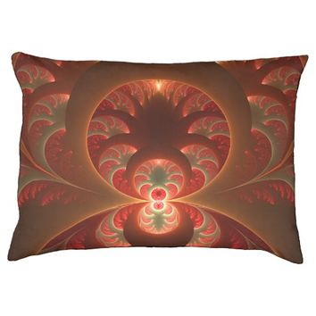Luminous abstract modern orange red Fractal Pet Bed