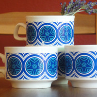 Blue Tea Cups - Set of Four - Retro - Staffordshire - Made in England - Star Design - Mid Century 1970s