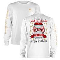 Simply Southern Sweet Tea Jesus Football Red Long Sleeve T-Shirt