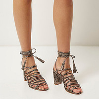 Grey snake print lace-up block heel sandals - sandals - shoes / boots - women