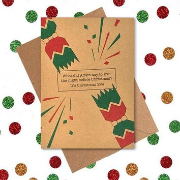 What Did Adam Say To Eve The Night Before Christmas? Funny Christmas Card Holiday Card FREE SHIPPING