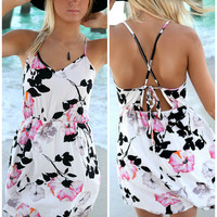 Tropical Sunset Floral Print Ivory Sundress