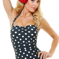 Vintage Inspired Swimsuit 50's Style Pin Up Black Polka Dot Bathing Suit - 6 to 18 - Unique Vintage - Bridesmaid & Wedding Dresses