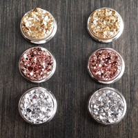 Druzy earring set- Silver and golds drusy stud set - druzy earrings