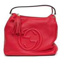 Gucci Soho Flame Red Leather Bag Soft Hobo Italy Handbag New