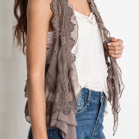 Way Too Good Lace Vest - Brown