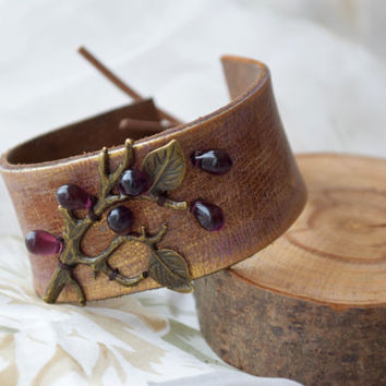 Bohemian leather cuff bracelet woman Jewelry Boho Bracelet Stacked Boho Chic tree twig rustic bracelet Recycled belt upcycled Valentine gift