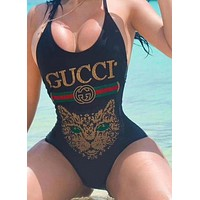 GUCCI Fashion Cute Cat Sequins Cross One Piece Swimwear Bikini Swimsuit