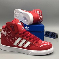 Adidas & Supreme & LV joint models casual high tops shoes F-CSXY red