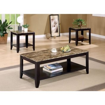 Artistic 3 piece occasional table set with Marble Top, Brown