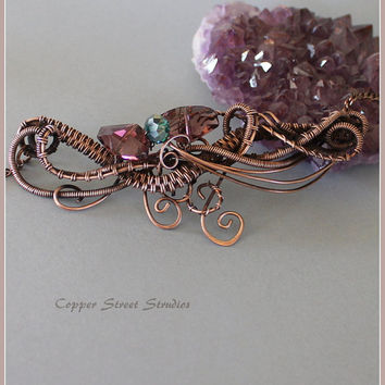 Copper Art Necklace, Copper Necklace, Wire Wrap Necklace,  Copper Wire Necklace, Copper Jewelry Wire,  Wire Woven Necklace Artisan Jewelry