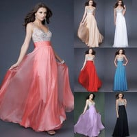 Fashion Chiffon V-neck Splicing Long Prom Party Dress