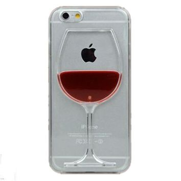 Red Wine Cup Liquid Transparent Case For Apple iPhone 7, 7 plus, 6 ,6S plus, 5, 5S, 5C, 4 ,4S,