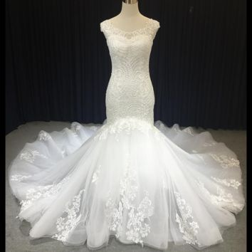 Sleeveless Mermaid Lace Wedding Dress Unique Design Cathedral Bridal Gown
