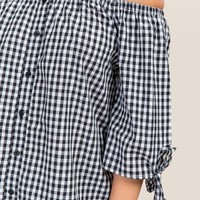 Sally Gingham Button Front Off The Shoulder Top