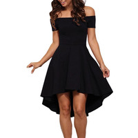 Women's Fashion Sidefeel Women Short Sleeve High Low Skater Cocktail Formal Clubwear Swing Dress