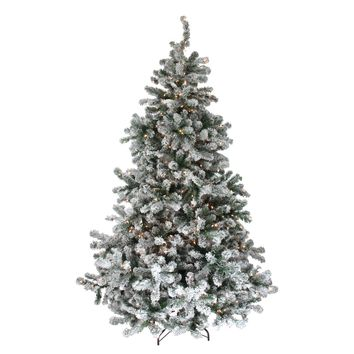 6.5' Pre-Lit Flocked Natural Emerald Artificial Christmas Tree - Warm Clear Lights