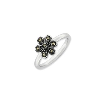 2.25mm Sterling Silver Stackable Marcasite Flower Ring
