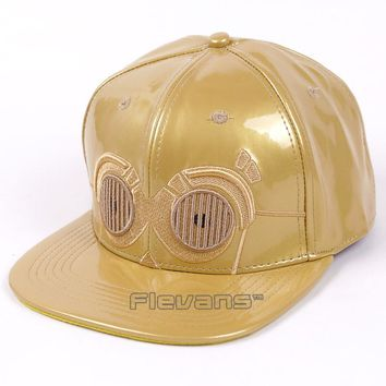 Fashion Brand Star Wars Robot C-3PO Snapback Caps PU Leather Baseball Cap Bboy Hip-hop Hats for Men Women