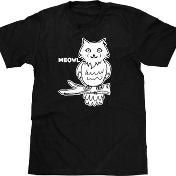 Funny Cat T Shirt, Meowl, Funny Tshirt, Funny Graphic Tee, Owl Tshirt, Cat Tshirt, Owl T Shirt, Animal Tshirt, Mens Plus Size