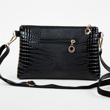 Korean Women Fashion Vintage Alligator Leather Satchel Shoulder Bag Lady Simple Sling Crossbody Handbag Zipper Purse Retro Bolsa