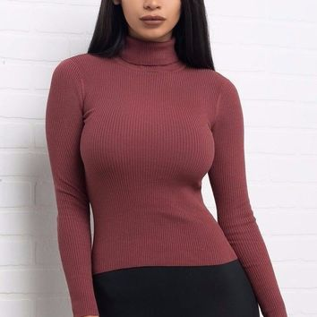 Hally Sweater Top - Mauve