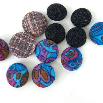 1950s Fabric Buttons MOD Vintage Jewelry Sewing Craft Notions Mid Century Retro Pink Purple Black Colors Louanne's Estate Sale