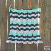 Crochet Cotton Chevron Security Blanket~Ready to ship~FREE SHIPPING