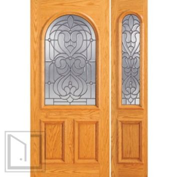 Pre-hung Mahogany Radius Li Entry One Sidelite Door