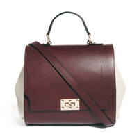 ASOS   ASOS Leather Top Handle Bag With Contrast Side Panel at ASOS