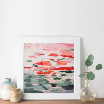 Red Green Landscape Abstract Giclée Print