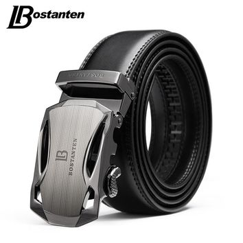 BOSTANTEN Men's Belt Cow Leather Belts Brand Fashion Automatic Buckle Black Genuine Leather Belts for Men 3.4cm Width
