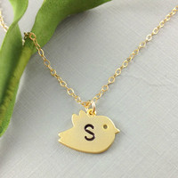 Monogram Jewelry, Initial Necklace, Bird Necklace, Personalized Necklace, Christmas Gift, Thanksgiving Gift, Gift For Daughter, Baby Shower