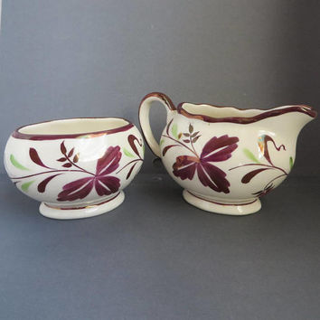 English Sugar Creamer Set, Vintage Gray's Pottery Strawberry Purple Luster Gift Set, Hand Painted British Pottery