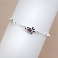 Turtle and Crystal Stone Chain Link Bracelet